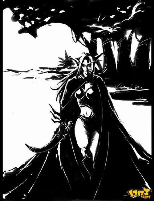 魔兽世界 - 漫画壁纸-黑白版画风格的精灵mm